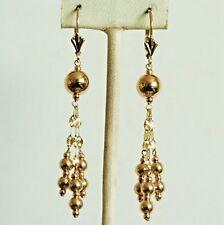 14k solid yellow gold dangle drop ball chandelier earrings leverback 2.1 grams