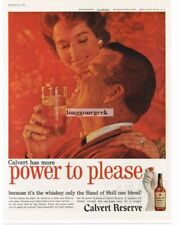 1959 CALVERT Reserve Whiskey Power To Please Man Drinking On The Rocks Vtg Ad