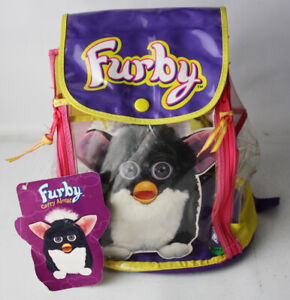 RARE VINTAGE 1999 FURBY CARRY ALONG BACKPACK BAG CASE TIGER NEW NOS !