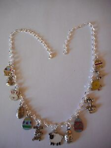 Easter themed enamel and silvertone  charm necklace
