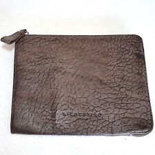 LIEBESKIND Brown Croco Leather IPAD Tablet Folio Cover Case Sleeve Zip Clutch