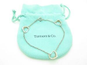 """Tiffany & Co. Sterling Silver Elsa Peretti Three 3 Open Heart Bracelet 7.25"""" - A"""