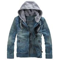 Men Vintage Hooded Jean Jacket Jeans Biker Denim Top Hoodies Coat Jacket Outwear