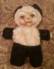 """Vintage Plush Rubber Face Panda Bear Stuffed Black White 11"""" Rushton, Rare"""