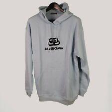 Authentic BB Balenciaga printed logo light blue hoodie 570811THV78
