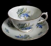 VINTAGE MELBA BONE CHINA MADE IN ENGLAND TEA CUP & SAUCER FLORAL MOTIF GOLD TRIM