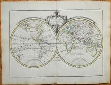 Lattre Original Colored Map World Hemispheres 1780#