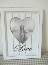 "Picture Frame White Heart Love Wooden Shabby White 13"" x 10"" New"