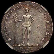 1798 PLM Germany Brunswick Wildman 1/6 Thaler Silver Coin - NGC AU 55 - KM# 401