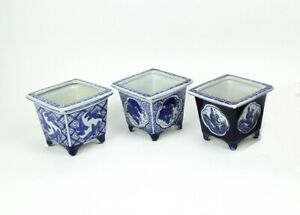 Scratch & Dent Set of 3 Asian Design Blue and White Mini Planter Pots 5 Inches