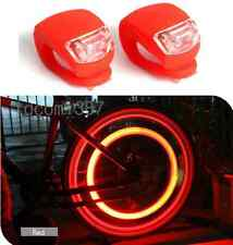 2x Silicone Bike Bicycle Cycling Head Front Rear Wheel LED Flash Light Lamp Red