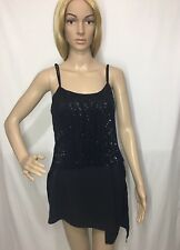 ZARA BLACK DOUBLE LAYERED SEQUINNED ASYMMETRIC HEM STRAPPY TANK TOP SIZE S