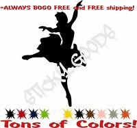 2 For 1! Ballerina Girl Dancer Dancing Vinyl Decal Sticker For Car Window laptop