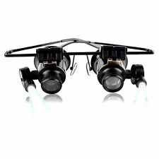 20x Magnifying Eye Magnifier Glasses Loupe Lens Jeweler Watch Repair LED Light S