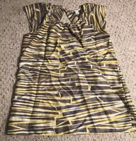 Banana Republic Womens Gray and Yellow Sleeveless Silk Top Size 4