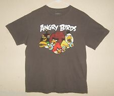 Boys L Large 14/16 ANGRY BIRDS Cell Phone Game Cotton Crew Graphic T-shirt GRAY