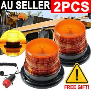 2PCS LED Beacon Flashing Lights Magnetic Strobe Emergency Warning Light Lamp 12V