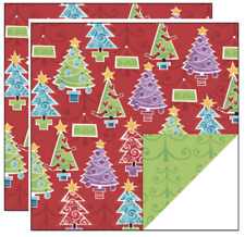 """Creative Imaginations 12"""" x 12""""  Scrapbook Paper HOLIDAY TREES CHRISTMAS"""