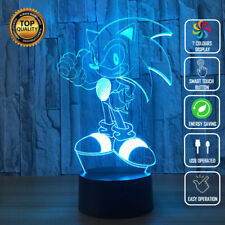 Acrylic LED Sonic the Hedgehog 3D Night Light Touch Table Desk Lamp Kid Gift