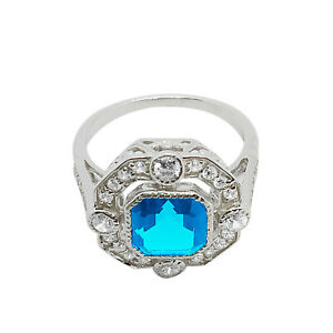 2Ct Asscher Cut Blue Topaz Solitaire Engagement Ring 14K White Gold Over Silver