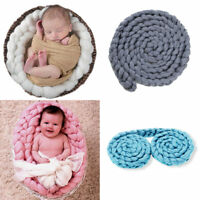 Handmade Newborn Baby Photography Photo Props Backdrop Wool Knitting Blanket Rug