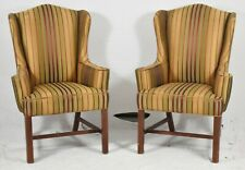 Pair of Baker Mahogany Chippendale Wing Back Chairs Milling Road Silk Fabric