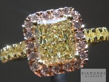 1.01ct Fancy Light Yellow SI2 Radiant Cut GIA Halo Ring R5020 Diamonds by Lauren
