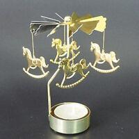 Hot Spinning Rotary Aluminum Carousel Tea Light Candle Holder Stand Light Gift