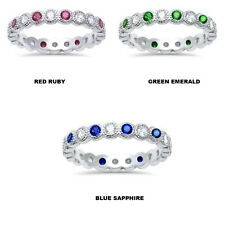 Stackable Multi color Bezel set Mil grain Eternity 925 Sterling Silver Ring