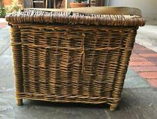 Vintage Wicker Anglers Fishing Creel Seat Basket Storage