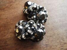 Rétro Vintage Clip Sur Boucles d'oreilles GUNMETAL Lustre Perles avec brillants en Twist