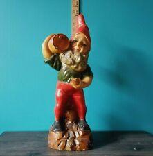 Exceptional 1930s Soulful Garden Gnome Vintage Antique Plaster Statue BeerBarrel