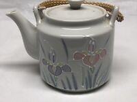 Otagiri Japan Small Teapot Floral Lite Rattan Handle Hand painted 3D Floral