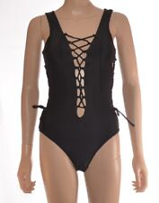 Sexy Black Strappy Lace Up Corset Style Swim Suit Swimming Costume Size M-XL A67