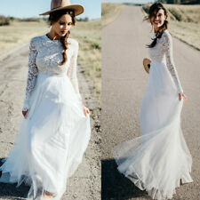 Boho Simple Long Sleeve Wedding Dress Puffy Tulle Lace Top Bridal Gowns Plus SZ