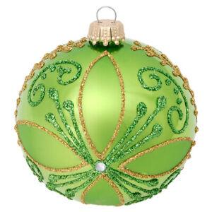 """KREBS-GLAS Lauscha """" Eine Weihnachtskugel Ø 8 cm Grün - Gold"""