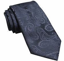 New Brand Q Men's Micro Fiber Paisley Neck Tie necktie only Navy Blue wedding