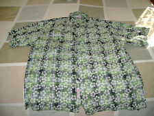 MECCALOHA RESORTS - GREEN FLOWERED - HAWAIIAN CASUAL DRESS SHIRT -  LARGE