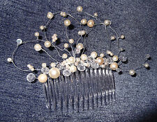 HANDCRAFTED CRYSTAL, PEARL HAIR COMB, $68, White, Ivory, Gold, Silver, NEW, Aust