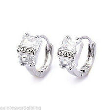 18k White Gold Plated Clear Zircon Huggie Hoop Earrings