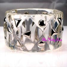 Designer Catwalk 2018 Large Chunky Clear Resin Heavy Geometric Statement Bangle
