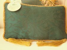 Matching SET ~ GORGEOUS Rectangular BROCADE Swirls GREEN GOLD Cushion Pillow NWT