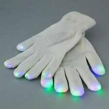 Pair of Unisex White LED Gloves with Multi Colour Flashing Fingertips