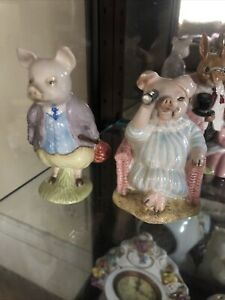 "Beatrix Potter's Beswick ""Pigling Bland"" Porcelain Figurine Pig Lot Of 2 Little"