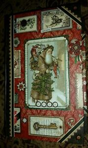 "NEW Fabulous 11"" Victorian SANTA CHRISTMAS Book Box Gold Foil Embellishments"