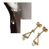 Boucles d'oreilles en plaqué or 18 carats pendant géométrique zirconium bijou