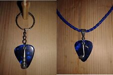 Keychain/Necklace Combo - Blue Pick/Microphone&Music Note Charms/Royal Blue Cord