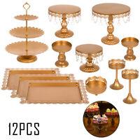 12Pcs Cake Stand Set Metal Cupcake Holder Display Plate W/ Crystal Wedding Party