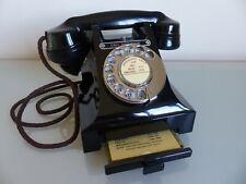 More details for   stunning jet black high gloss black bakelite telephone fully overhauled