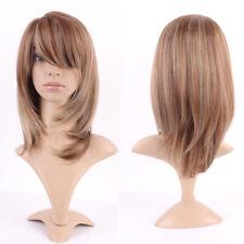 Women Cosplay Wig Soft Straight Wavy Mix Light Brown Blonde Heat Resistant Wig Y